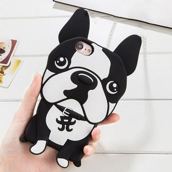3D Bulldog mobile phone case for iPhone X 7 7plus 8 8plus iPhone6 6s plus