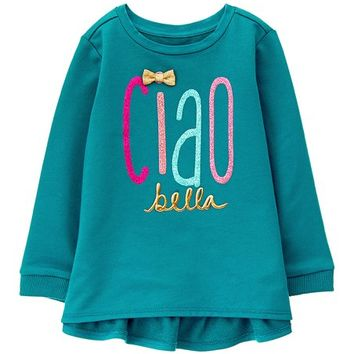 Teal 'Ciao Bella' Ruffle-Accent Tunic - Infant, Toddler & Girls