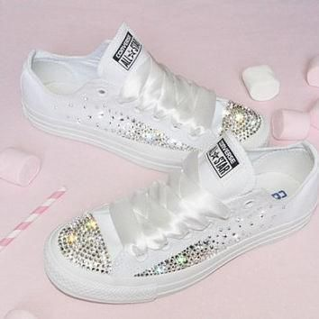 customised crystal white low top all star converse canvas blinged crystal sides toes