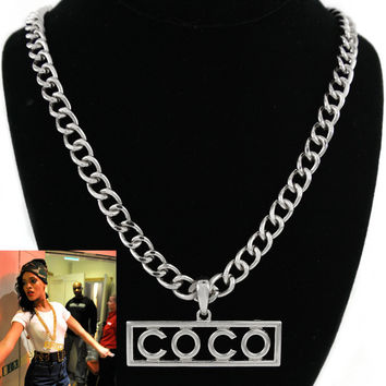 "Silver ""COCO"" Link Chain Statement Necklace"