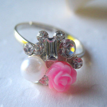 Pink Rose Rhinestone Ring Crystal Cluster Ring Rhinestone Studded Pearl Ring Square Cut Costume Jewelry Rhinestone Pink Flower Ring