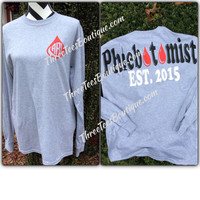 Monogram Phlebotomist T-Shirt Monogram Long Sleeve TShirt  Monogrammed Gifts - Three Tees Boutique