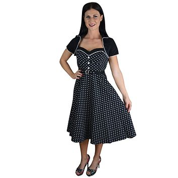 60's Retro Black and White Polka Dot Flare Dress with Bolero