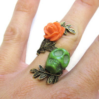Sugar Skull Ring Day of the Dead Coral Orange Green Rose