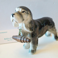 Vintage Gray Springer Spaniel Figurine Gray Dog Collectible Figure