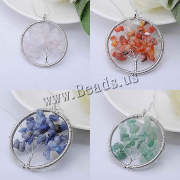 Natural Crystal Lucky life Tree Pendant Semi precious stone agate carnelian citrine turquoise amethyst women jewelry necklace