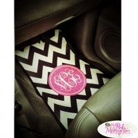 Monogrammed Front Car Mats Set Of 2 At The Pink Monogram