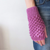 Hand Knit Fingerless Gloves in Dark Lilac - Trinity Stitch Arm Warmers - Seamless Knit Gloves - Winter Fashion - Made to Order