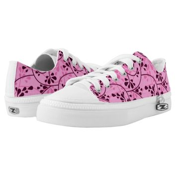 Pink Girly Swirly Floral Pattern Printed Shoes