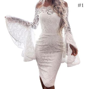 Women Dresses New Sexy Lace Embroidery Off Shoulder Slim Fit Flare Sleeve Bodycon Party Dress