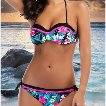 C| Chicloth Floral Halter Backless Push Up Padded Bandage Bikini Set