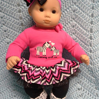 "AMERICAN girl Bitty Baby Clothes ""Mommy and Me Zebras"" (15 inch) doll outfit  dress, leggings, booties socks, and headband pink black  F2"