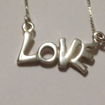 """Italian Sterling Love Necklace 16"""" Pendant 925 Silver Italy Choker Chain Vintage Jewelry Slide Gift Birthday Anniversary Holiday"""