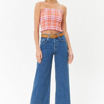 Smocked Plaid Tube Top