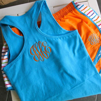 Monogrammed Running Shorts and Racerback Tank