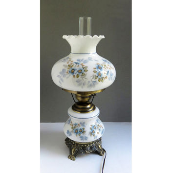 Vintage large hurricane lamp with painted blue white flowers and antique-brass bronze base and hardware - Excellent condition