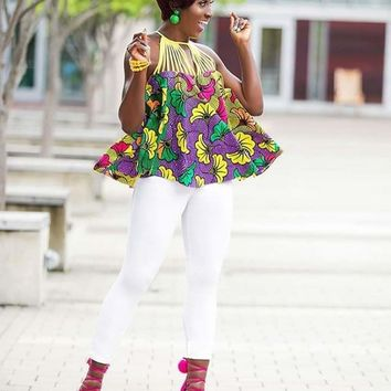 African Sunflower Multi-Color A-Line Top