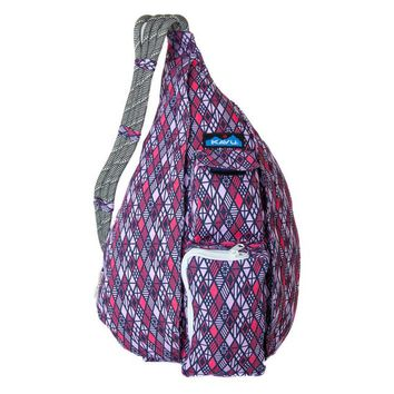 Monogrammed Kavu Rope Bag - Diamonds | Monogram Crossbody Bag | Teens | Women | Outdoors Satchel | Gift for Her | Canvas Rope Bag