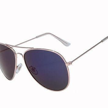 Ray Ban Aviator Gradient RB3025 Dark Blue Rose Gold Sunglasses