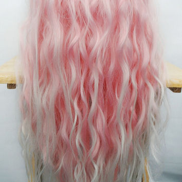 SPRING SALE Lace Front Pink wig, Pastel wig, Ombre wig, Scene wig - Rave Raver wig, UV wig, Blacklight wig // Cotton Candy Dream