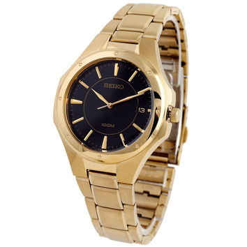 Seiko SGEF66 Men's Textured Black Dial Gold Tone Stainless Steel Analog Watch