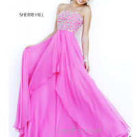 Strapless Bandeau Neckline Formal Prom Gown By Sherri Hill 8554