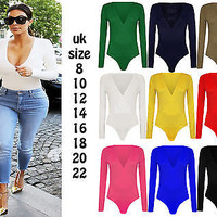 Womens Deep V Neck Plain Jersey Stretch Bodysuit Ladies Long Sleeve Leotard Top