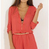 Playsuits/Jumpsuits > Zip-Up Playsuit in Red