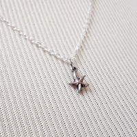 Starfish Necklace - Charm Necklace - Tiny Necklace - Delicate Necklace - Silver Necklace - Silver Jewelry - Dainty Starfish Neckkace