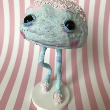 Sprinkle Monster- spun cotton, cotton figurine, low brow art, soft sculpture, dessert artwork, fantasy art doll