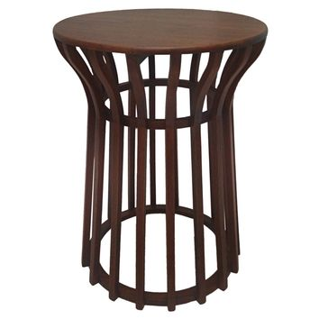 Zosia Solid Round Wood Side Table Brown