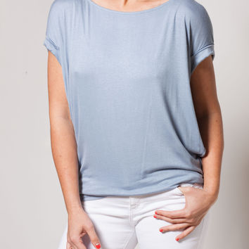 Steel Blue Short Sleeve Top