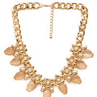 FOREVER 21 Faux Pearl & Stone Collar Necklace Peach/Gold One