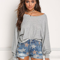 Grey Wide Sleeve Pullover Sweater