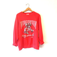 Vintage 1980s Wisconsin Badgers Bucky Badger Party Animal Collegiate Sweatshirt Sz L