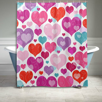 Pink Love Heart Pattern Polyester Fabric Shower Curtain  60 X 72 Inch Bathroom Sets Home Decor Gift for Her