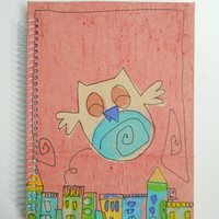 Notebook - Handmade and hand painted - Happy Owl