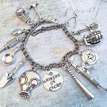 Weapons Of Choice Charm Bracelet YOU CHOOSE CHARMS, Weapons Of Choice Jewelry, Zombie Apocalypse Jewelry, Zombie Survival Kit Jewelry