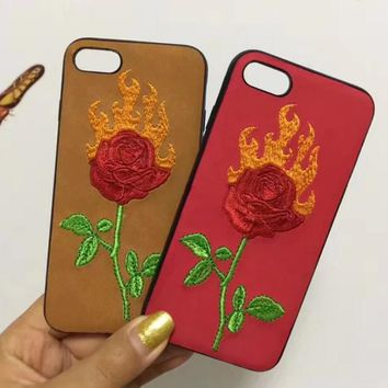 Fashion flame roses embroider silica gel phone case loving heart iPhone 6 s mobile phone shell iPhone 7 plus shell