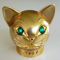 Vintage Jeweled Kitty Cat Bank Gold Tone Green Cab Eyes Face Bust