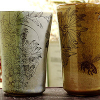 Two Matching Tumblers Water Glass Queen Bee by mudstuffing