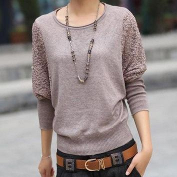 2015 Autumn Sweater Women Elegant Batwing Lace Hollow Sleeve Sweater and pullover Design Crew Neck Loose Casual Sweater