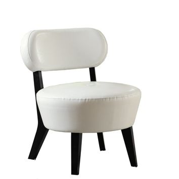 Ivory Bonded Leather Accent Chair