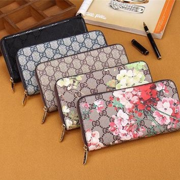 DCCKVQ8 Gucci' Women Purse Fashion Double GG Flower Print Zip Long Section Wallet Handbag