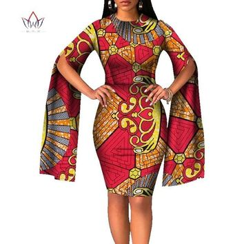 African Bazin Riche Caped-Sleeve Dress