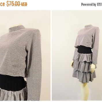 Clothing Sale Vintage Dress 80s Black & White Striped Cropped Shirt 3 Tier Ruffle Skirt Black Band  Waist Size 9 Modern S - M