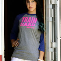 TRAIN HARD RIDE TO WIN (ATHLETIC BLUE BASEBALL T)