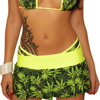 Marijuana Print Pleated Mini Skirt Marijuana Clothing