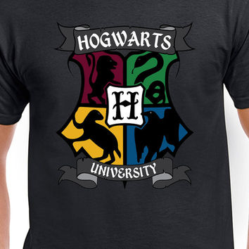 Harry Potter Inspired Hogwarts University Colored Logo T-Shirt of Gryffindor Slytherin Hufflepuff and Ravenclaw