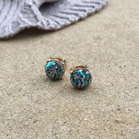 Sparkling Peacock Glitter Stud Earrings